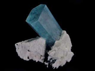 Aquamarine with Albite and Schorl
